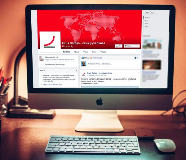 """""""Orus darbas – orus gyvenimas"""" Facebook puslapio dizainas"""