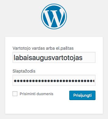 Prisijungimas prie WordPress