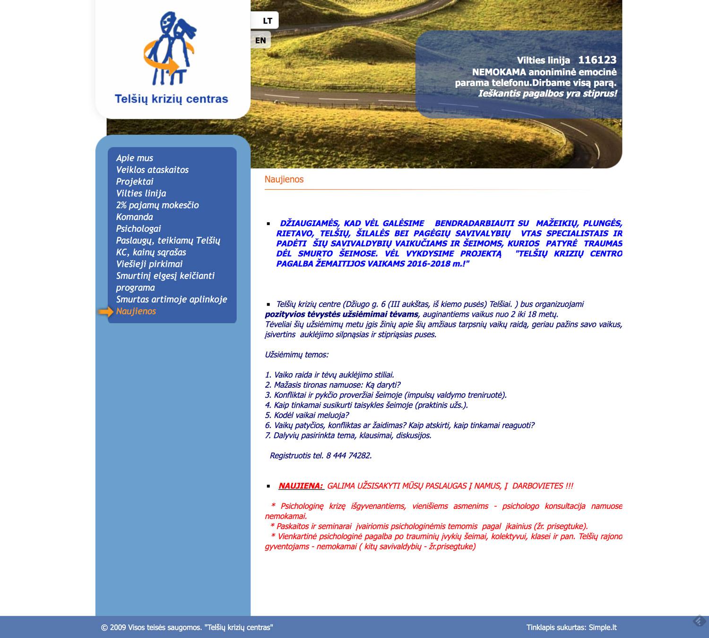 Senas Telšių Krizių centro puslapis